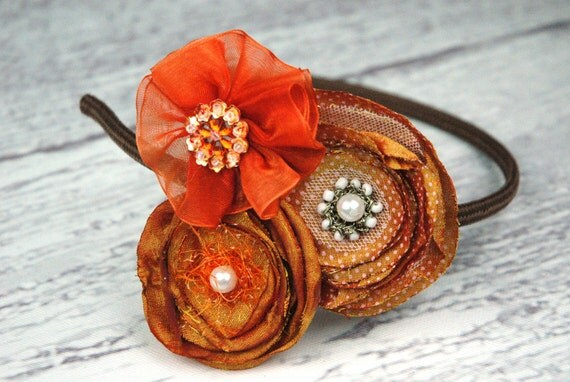 Orange Rust Brown Flower Headband Trio, with Polk a dot Fabric, Feathers, Rhinestones, Bling for Toddlers and Girls