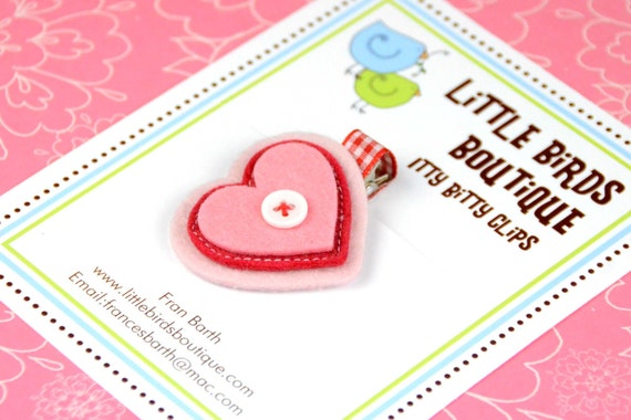 Itty Bitty Baby and Toddler Hair Clip Pink Felt Heart with White Button