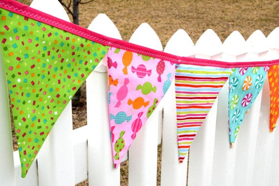 READY to SHIP! Reusable Fabric Bunting, Banner, Pennant, Flag, Photo Prop, Decoration, Dessert Party, Sorbet, Ice Cream, Pink, Girl
