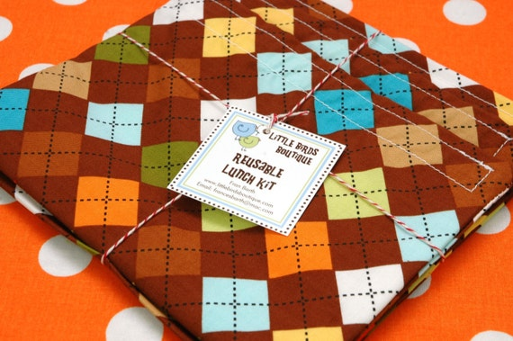 Reusable Sandwich and Snack Sack Kit in Remix Argyle Browns Oranges