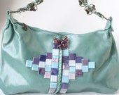 Sea Breeze Tote with Amethyst and Lilac Mosaic Design and Butterfly Crystal Brooch