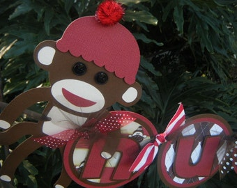 Sock Monkey NAME BANNER in Brown and Red