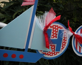 Sailboat NAME BANNER in Blue and Red and White