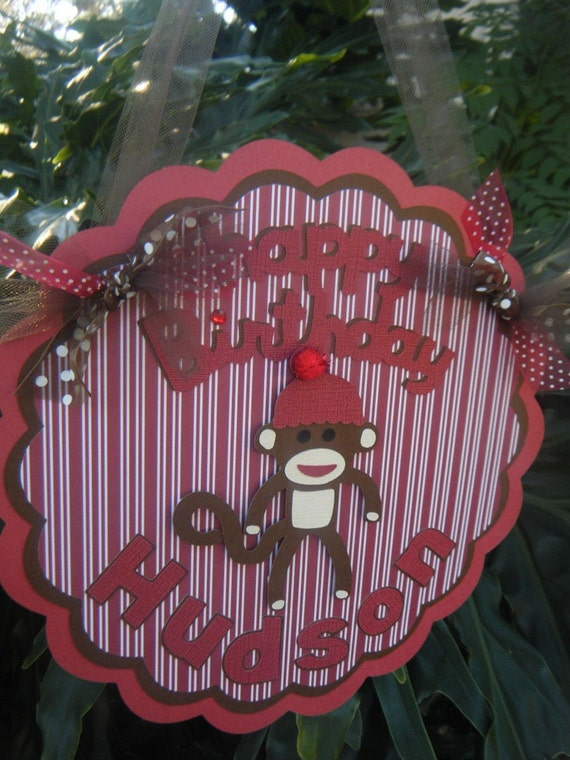 "Sock Monkey ""Happy Birthday"" DOOR SIGN in Brown and Red"