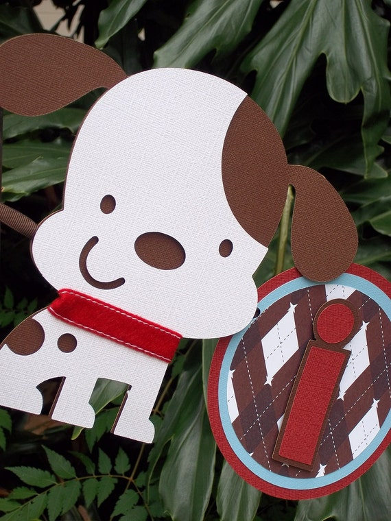 """Puppy """"it''s a boy"""" Baby Shower BANNER in Red and Brown and Blue"""