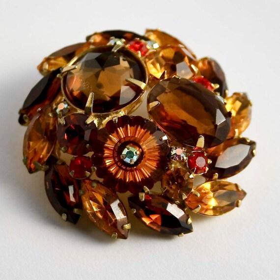 Juliana Style Fancy Topaz Dome brooch