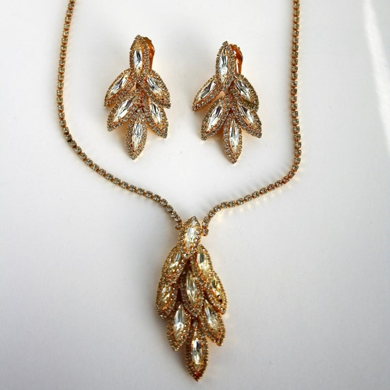Vintage Tiered Rhinestone Necklace and Earring Set - Demi Parure