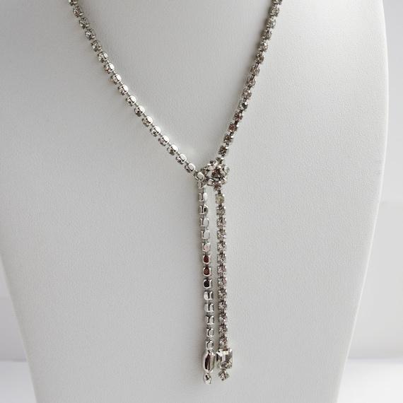 Vintage Rhinestone Tie Necklace