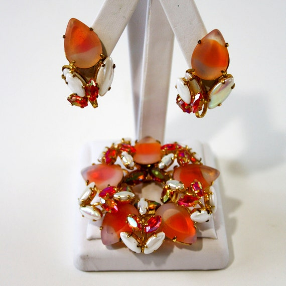 RESERVE for shanchett - Vintage West Germany Rhinestone Set - Brooch and Earrings - Juliana Style