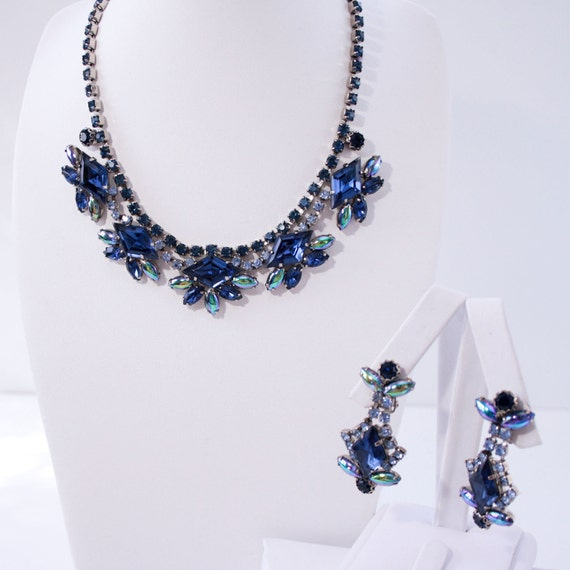 Vintage Sapphire Blue Rhinestone Choker and Earring Set - 1960s Mad Men Style - Prom or Bridesmaid Perfect