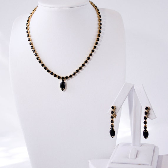 Vintage Black Rhinestone Necklace and Earring Set - 1960s or 1970s