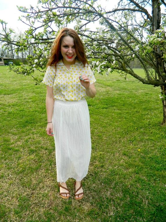 Vintage 70s white chiffon pleated maxi skirt