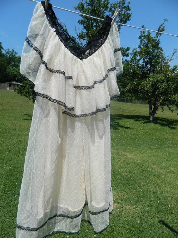 SALE SALE Ivory swiss dot cape top with black lace trim mini dress