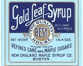 New England Vintage Maple cane Syrup label
