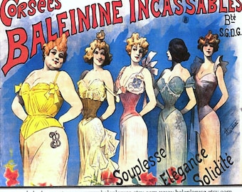 "Vintage French Corset Ad Unbreakable,""Whalebone"" Corsets"