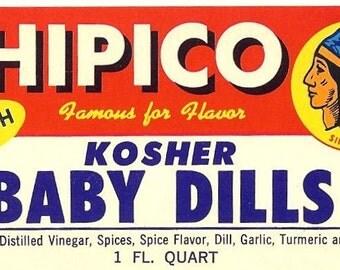 Chipico Pickle jar label 1950