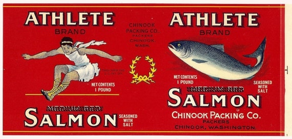 Athlete Salmon Can Label