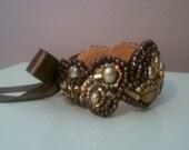 Bead Embroidered Cuff Bracelet - Mocha Autumn