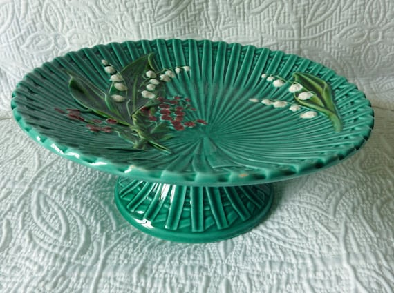 Vintage Majolica Cake Stand - Lily of the Valley - Teal Green - Hand Painted - Germany