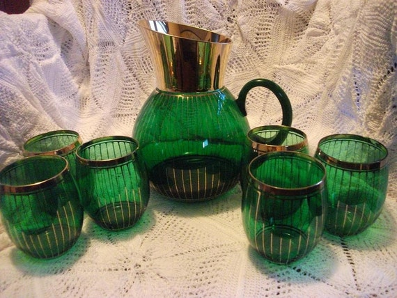 Vintage Green Pitcher and  Glasses