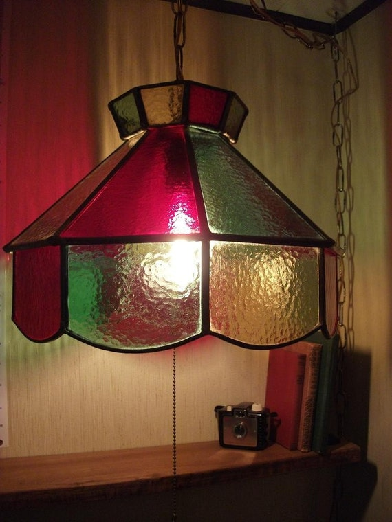 vintage stained glass hanging lamp by ricsrelics on etsy. Black Bedroom Furniture Sets. Home Design Ideas