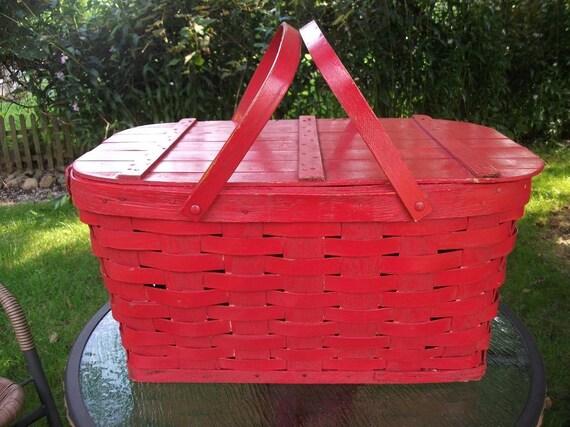 Vintage Red  Picnic Basket