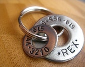 Pet Tag - Dog Tag - Two rings - Two numbers -  Hand stamped by Rawkette