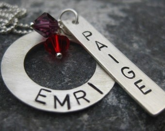 Custom Ring and Bar Necklace  - Stamped By Rawkette