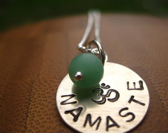 Namaste Sterling Necklace - Ohm with bead - By Rawkette