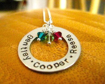 Custom Ring Necklace - Sterling Silver with birthstone - By Rawkette