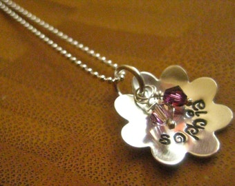 Flower Necklace - Custom With Crystals - Stamped by Rawkette