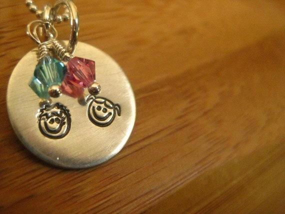 Girl and Boy Sterling Necklace - Blue and Pink Crystals - By Rawkette
