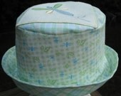 Infant Sun Hat Dragonfly Blue Yellow Green plaid cotton Bucket Hat Fisherman Hat baby sunhat