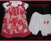 Baby girl Red Hearts Dress & Panties Diaper Cover Pantaloons from retro pillowcase sz 9 - 12 mos  red white patchwork hearts