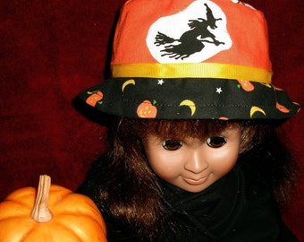AG Doll Hat, Halloween hat, Am Girl hat, Witch Pumpkins Back Cats, Doll Hat