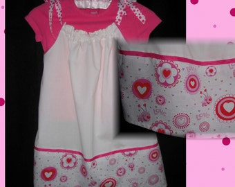Girls Pillowcase Dress, size 3, 4, 5, pink, bug, heart, flower, hand made, retro pillowcase dress, pillow case, pinafore, sun dress, child's