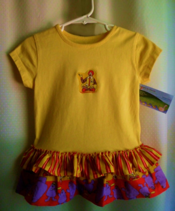 McDonald's T-Shirt Dress sz 12 to 18 months or Top sz 24 months yellow red