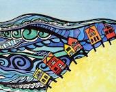 Child art landscape wall art, ocean and beach