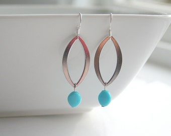 Large silver marquise links, turquoise earrings - JULIANNE (blue)