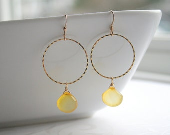 Yellow chalcedony, gold circle, earrings - SUNSHINE