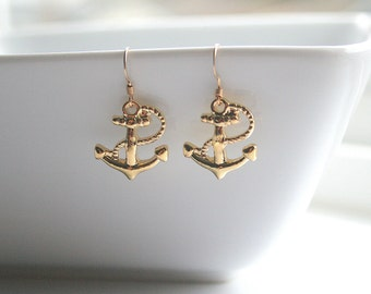 Gold anchor earrings - GOLD ANCHOR