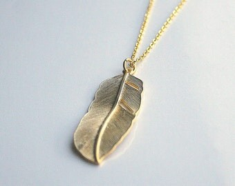 "Long 28""  gold feather necklace - JUDY"