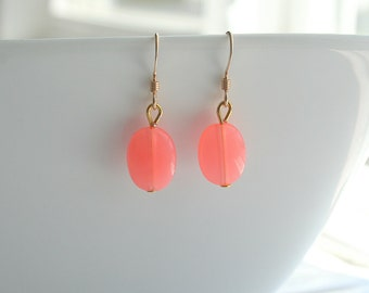 Coral Pink and Gold dangle Earrings