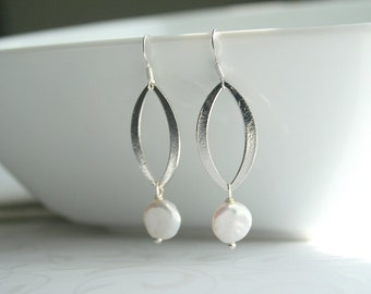 Coin pearl, silver marquise, earrings - JULIANNE coin pearl