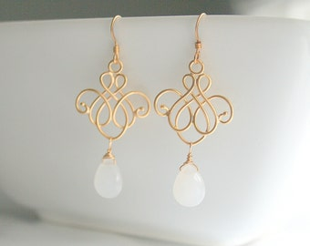 Gold chandelier, white chalcedony, bridal, earrings - NICOLE