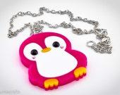 Kawaii Happy Penguin PINK Laser Cut Layered Acrylic Pendant  New Style Cute Japanese Style