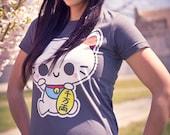 Plus Size 2X/3X Dark Grey Maneki Neko Screen Printed T-Shirt Kawaii Japanese Fortune Cat