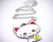 Maneki Neko Japanese Fortune Cat Metal Pendant/Necklace
