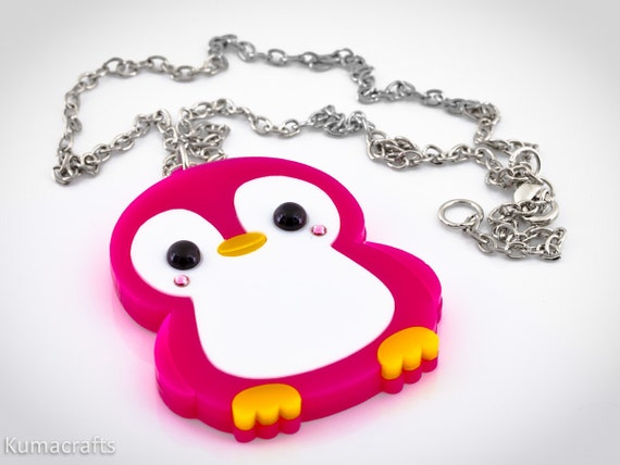 Kawaii Happy Penguin PINK Laser Cut Layered Acrylic Pendant  New Style Cute Japanese Style