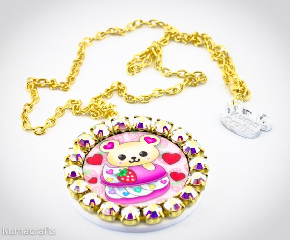On Sale LAST ONE Kuma Loves Macarons Cameo Pendant with Swarovski Crystals on Gold Plated Chain